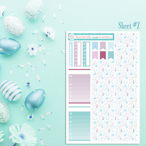 Easter Monthly Sticker Kit - Spring Planner Stickers - Turquoise Pastel Easter Stickers - Fits Erin Condren, Happy Planner Stickers