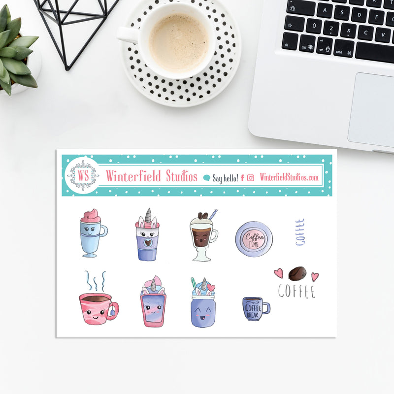 Kawaii Coffee Stickers - Hand Drawn Stickers - Hobonichi stickers - Bullet Journal Decorative Stickers