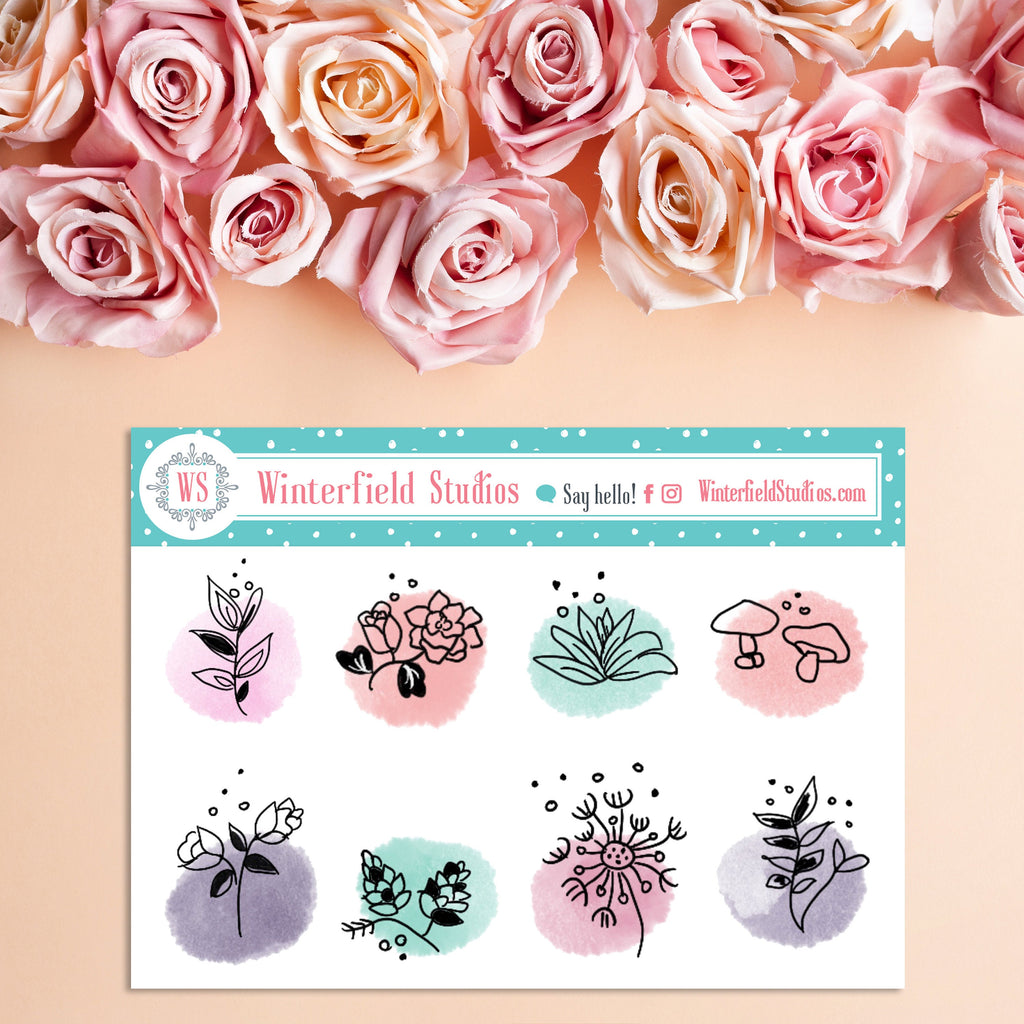 Hand Drawn Flower Stickers - Floral Stickers - Spring & Summer Flowers - Watercolour Stickers - Hobonichi stickers - Bujo