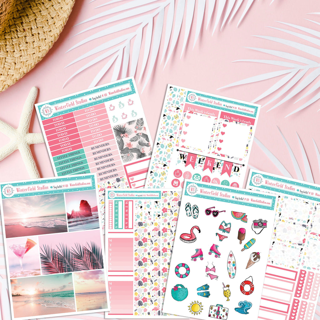 Pink Summer Beach Dream Monthly Sticker Kit - Beach Planner Stickers - Summer Photo Boxes - Fits Erin Condren & Happy Planner