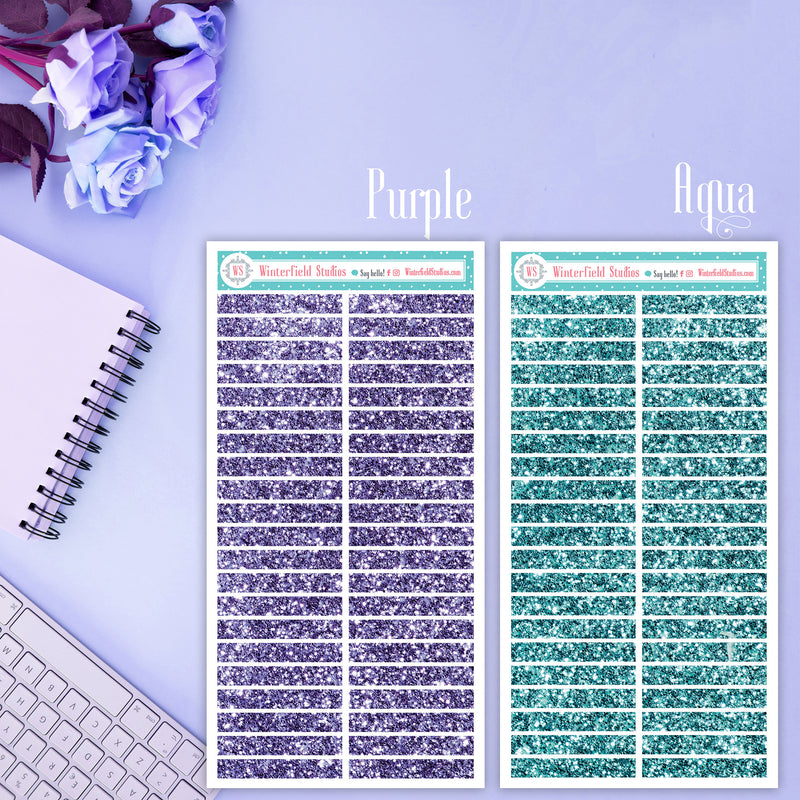 Glitter Header Stickers - Functional Planner Stickers - Pastel Stickers - ECLP Headers - Pink, Blue, Aqua, Purple, Gold, Silver
