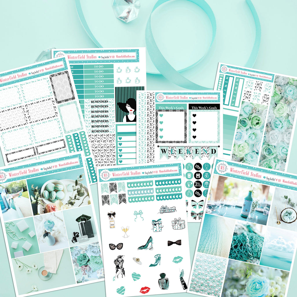 The Turquoise Collection - Monthly Sticker Kit - Fashion & Beauty Stickers - Rose Headers - Photo Boxes - Fits Erin Condren, Happy Planner
