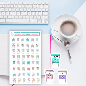 Rainbow Coffee Stickers - Hand Drawn Stickers - Polka Dot Pastel Planner Stickers - Hobonichi stickers - Bullet Journal Decorative Stickers
