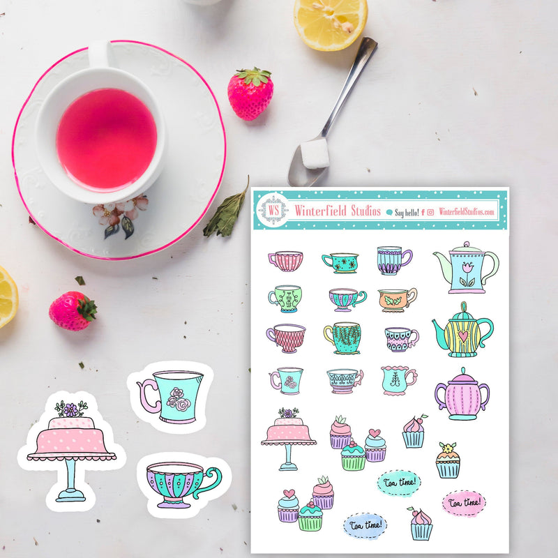 High Tea Planner Stickers - Tea Cup Stickers - Hand Drawn Stickers - Cupcake Stickers - Hobonichi - Bullet Journal Decorative Stickers