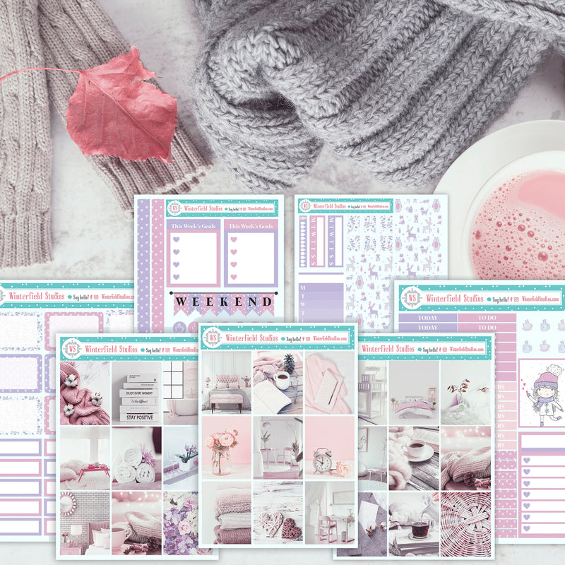 Autumn Retreat Sticker Kit - Pastel Lilac Planner Sticker Kit - Cozy Photo Boxes - Fits Erin Condren, Happy Planner