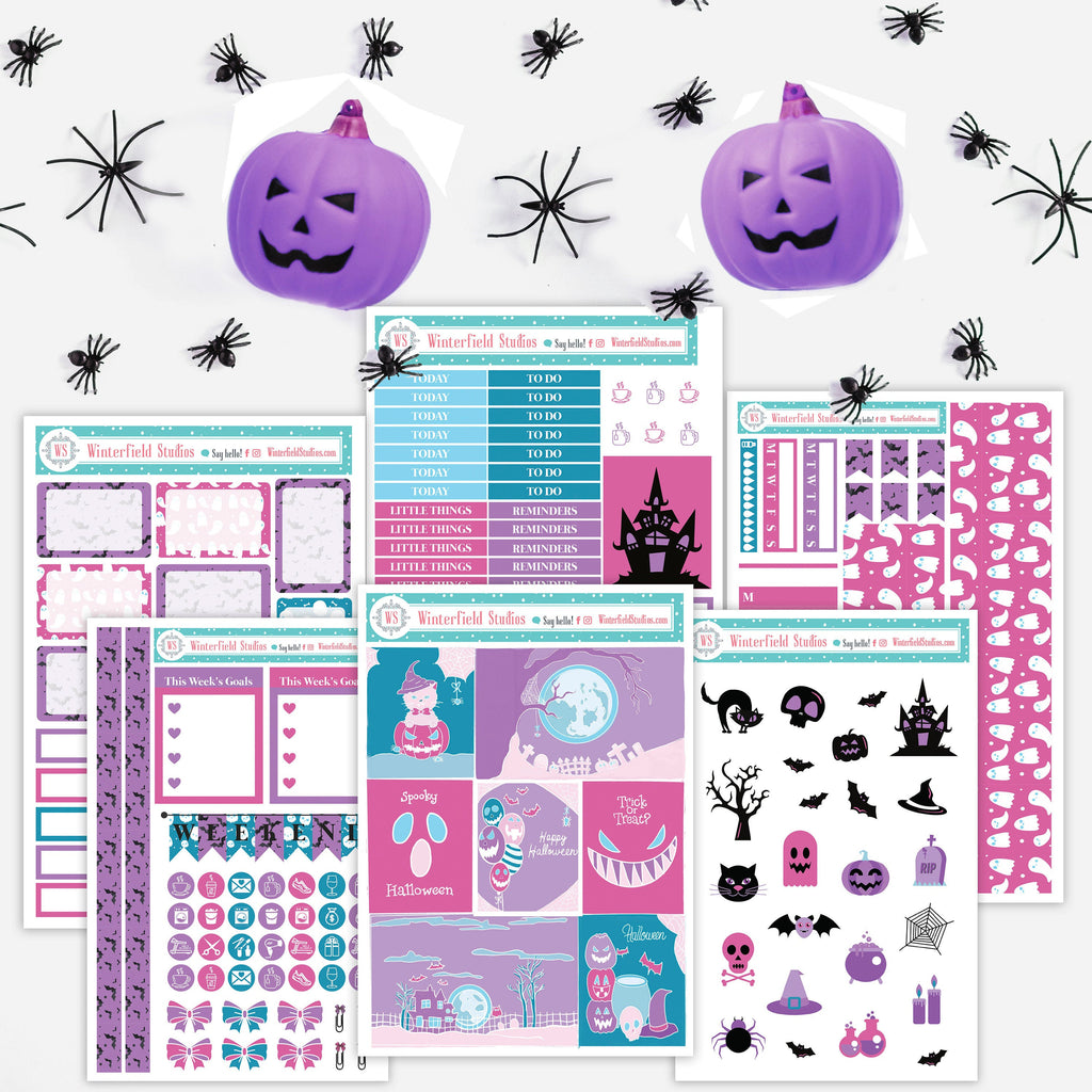 Halloweeen Nightmare Planner Stickers Kit - Vertical Full Box Stickers - Halloween Stickers - Fits Erin Condren, Happy Planner