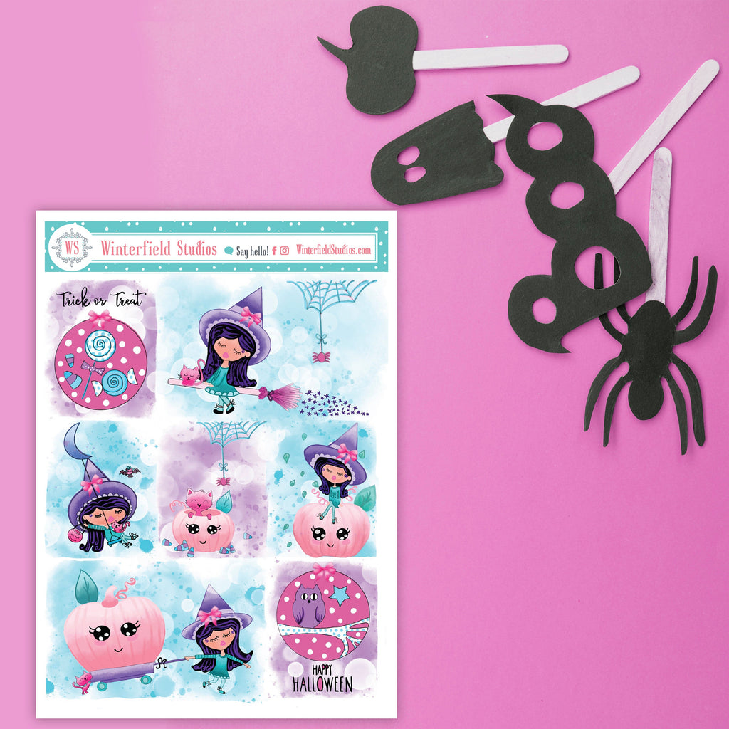 A Witchy Halloweeen Planner Stickers Kit - Halloween Stickers - Cute Halloween Stickers - Spooky - Fits Erin Condren, Happy Planner