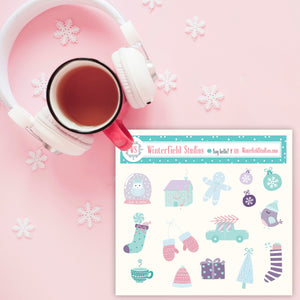Cute Pastel Christmas Stickers - Fall and Winter Stickers - Sticker Deco - Planner Stickers