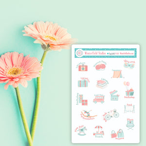 Parent Daily Activity Stickers - Birthday Party Play Date, Sleepover, Shopping, Park - Pastel Daily Activity Planner Stickers - Mom Stickers