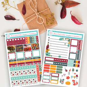 Autumn Harvest Hobonichi Sticker Kit - Autumn Stickers - Fall Hobo Weeks Cute Animal Stickers - Planner Kit