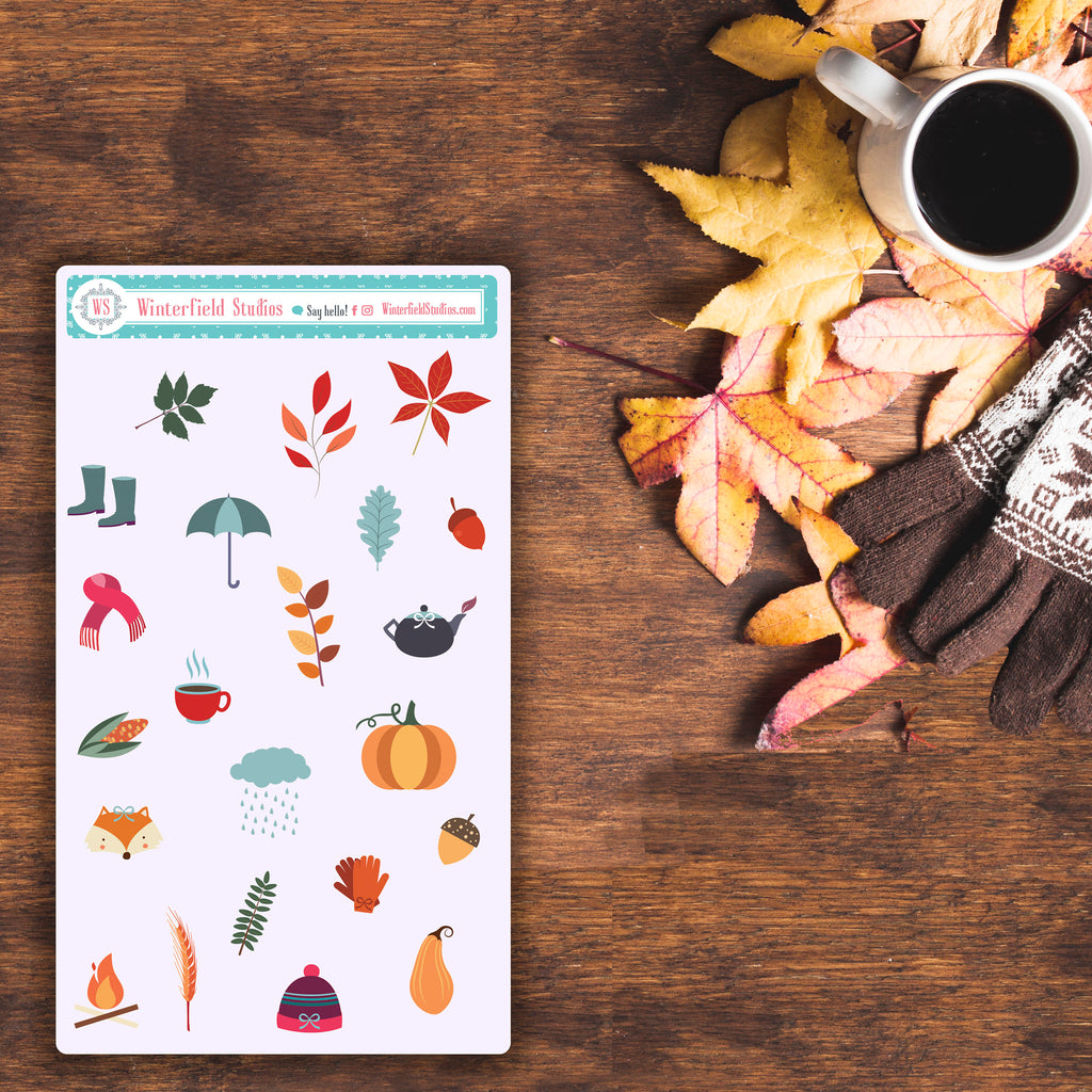 Grandma's Kitchen Photo Box Stickers - Autumn Stickers - Fall & Autumn Art Deco - Fits Erin Condren, Happy Planner