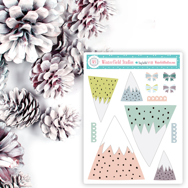 Chalet Christmas Planner Sticker Kit - Ski Resort Stickers - Winter Stickers - Scrapbook Stickers - Fits Erin Condren, Happy Planner