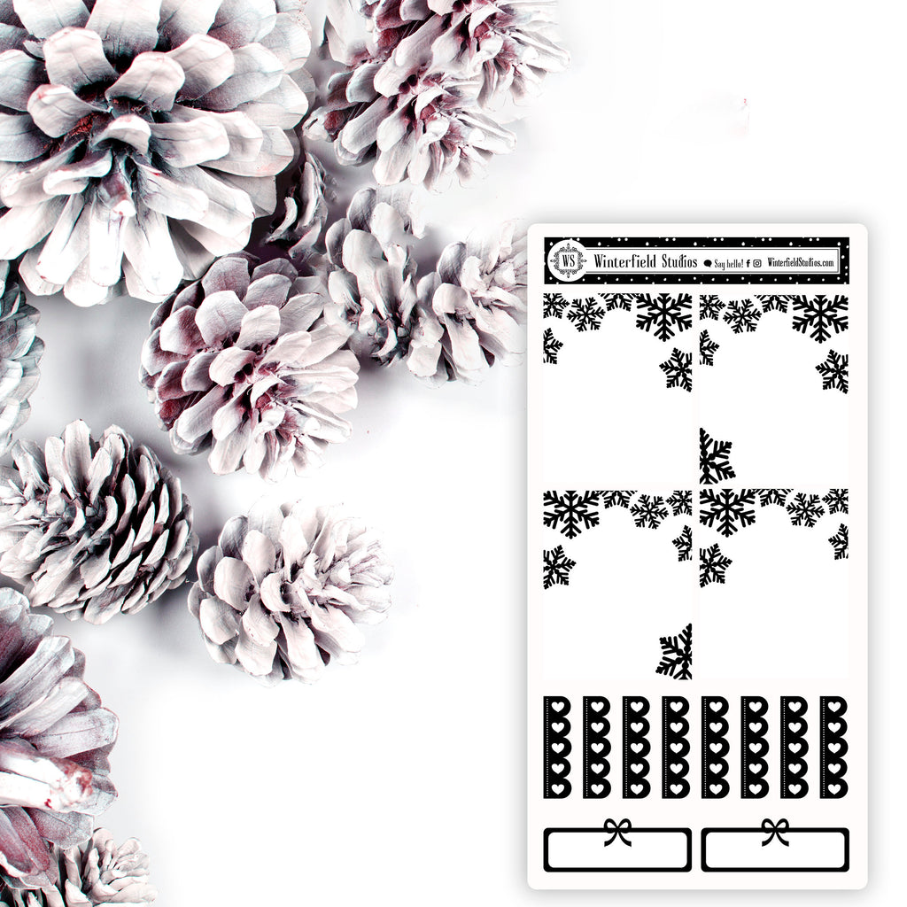Snowflake Foil Overlay Stickers - Full Box Foil Overlay Stickers - Winter Stickers - Christmas Stickers - Fits Erin Condren, Happy Planner