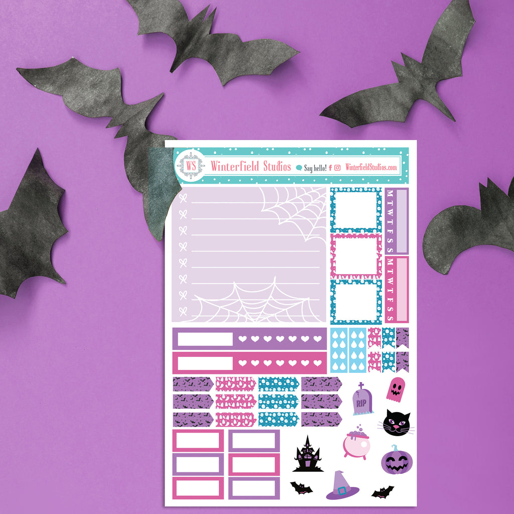 Halloweeen Nightmare Planner Stickers Kit - Hobonichi Weeks - Halloween Stickers - Hobo Planner Sticker Kit
