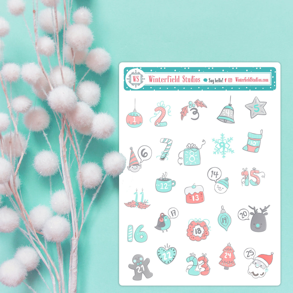 Advent Calendar Art Deco Stickers - Travelers Notebook Stickers - Bullet Journal Stickers
