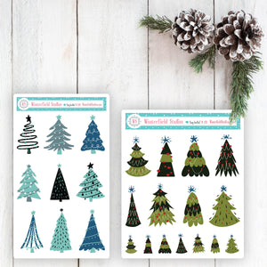 Christmas Tree Planner Stickers - Christmas Art Deco Stickers - Hand Drawn Stickers - Trees - Bullet Journal Decorative Stickers