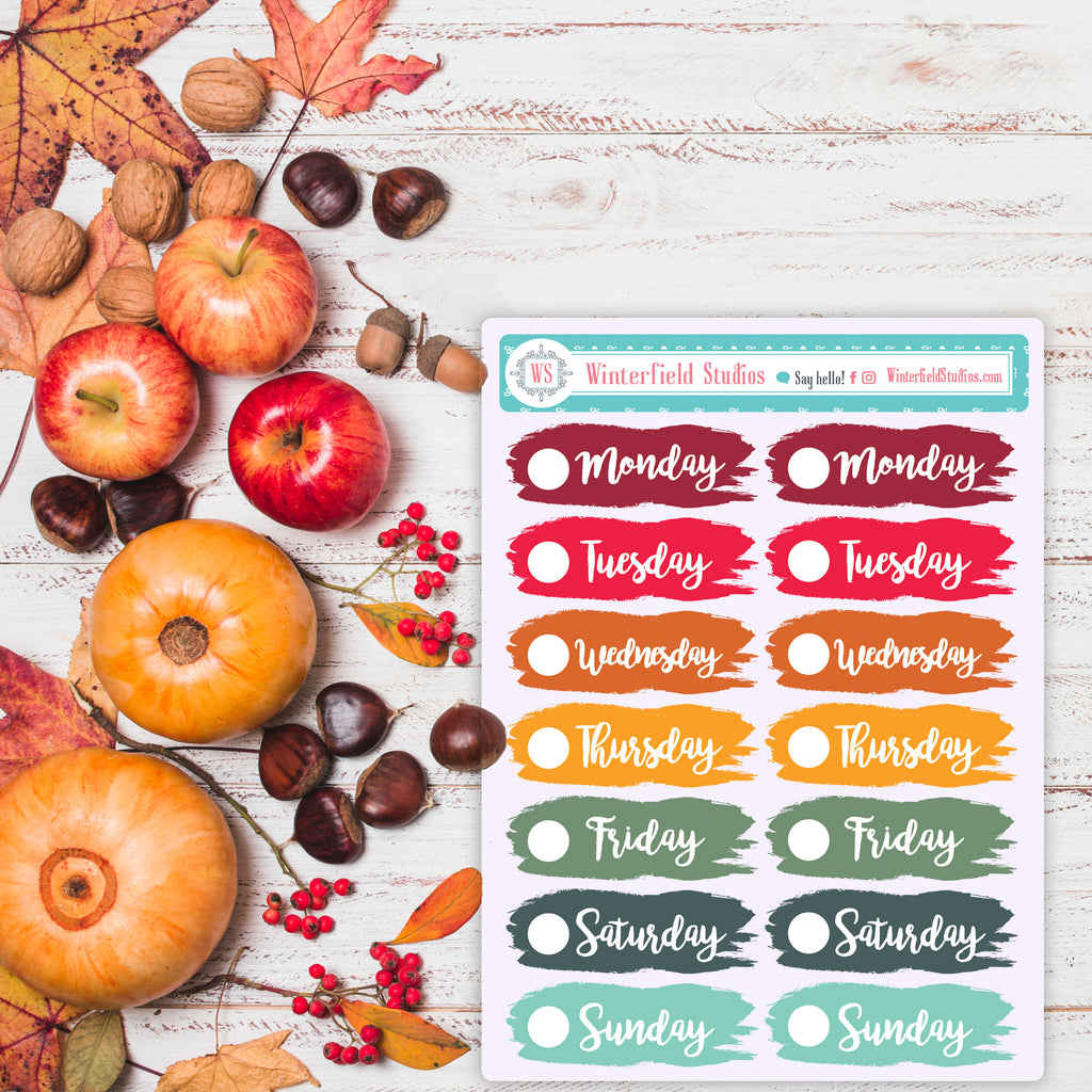 Fall Date Cover Stickers - Brush Stroke Stickers - Days of the Week Stickers - Foil Stickers - Multi-Color Days of the Week Planner Stickers