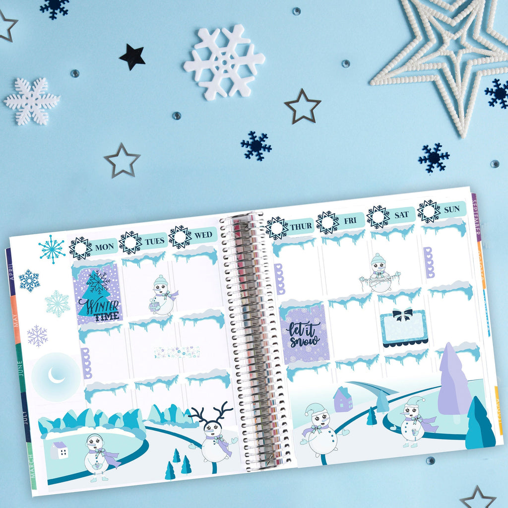 One of A Kind Winter Planner Sticker Kit - Snowflake & Snowmen Stickers - Fits Erin Condren, Happy Planner - Scrapbook Stickers