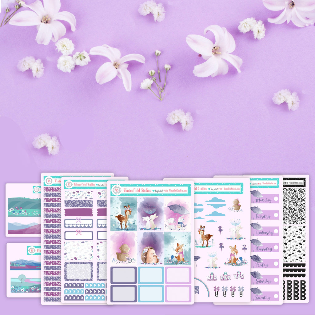 Woodland's Paradise Sticker Kit - Spring Planner Sticker Kit -  Scrapbook Scene Stickers - Watercolor - Fits Erin Condren, Happy Planner