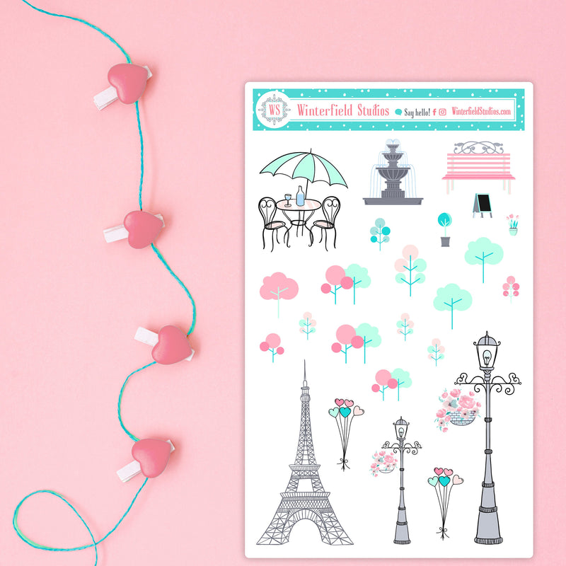 Lover's Lane Valentine's Day Sticker Kit - February Planner Sticker Kit -  Scrapbook Stickers - Fits Erin Condren, Happy Planner