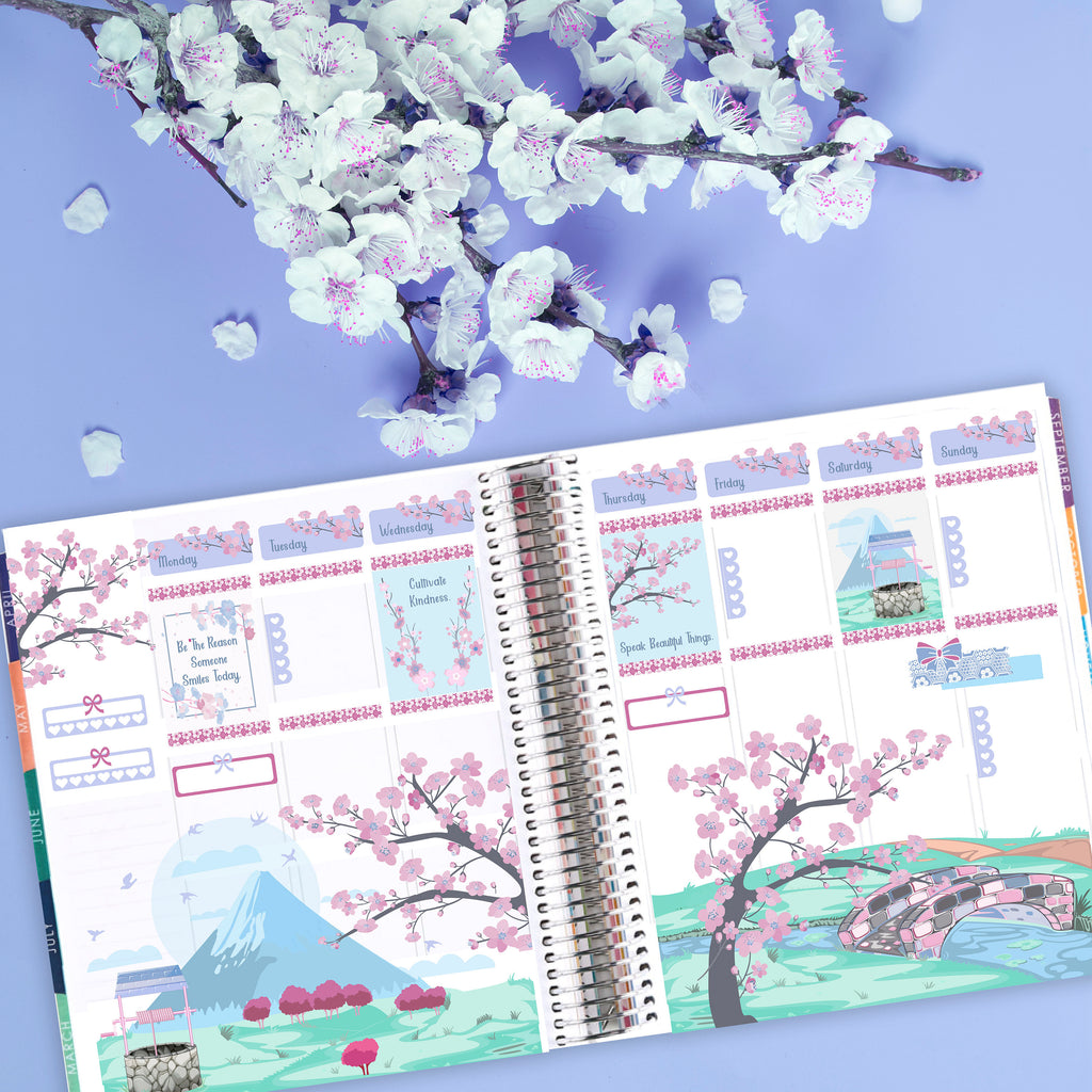 Cherry Blossom Bliss Sticker Kit - Spring Planner Sticker Kit -  Scrapbook Scene Stickers - Fits Erin Condren, Happy Planner