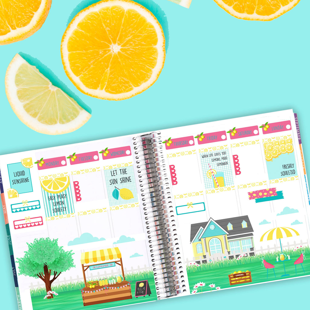 Lemonade Stand Planner Sticker Kit - Spring Planner Sticker Kit -  Scrapbook Scene Stickers - Watercolor - Fits Erin Condren, Happy Planner