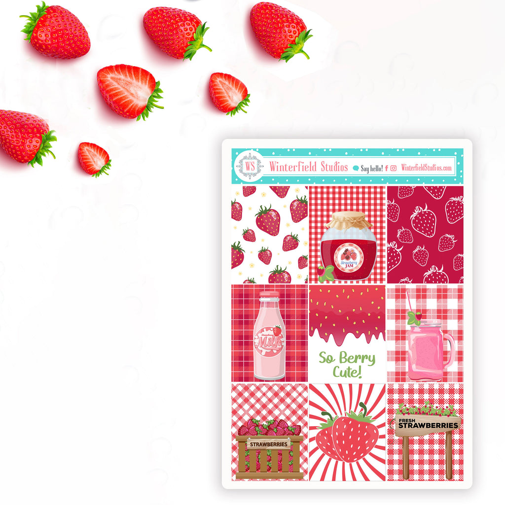 Strawberry Fields Planner Sticker Kit - Fits Erin Condren Life Planner & Classic Happy Planner