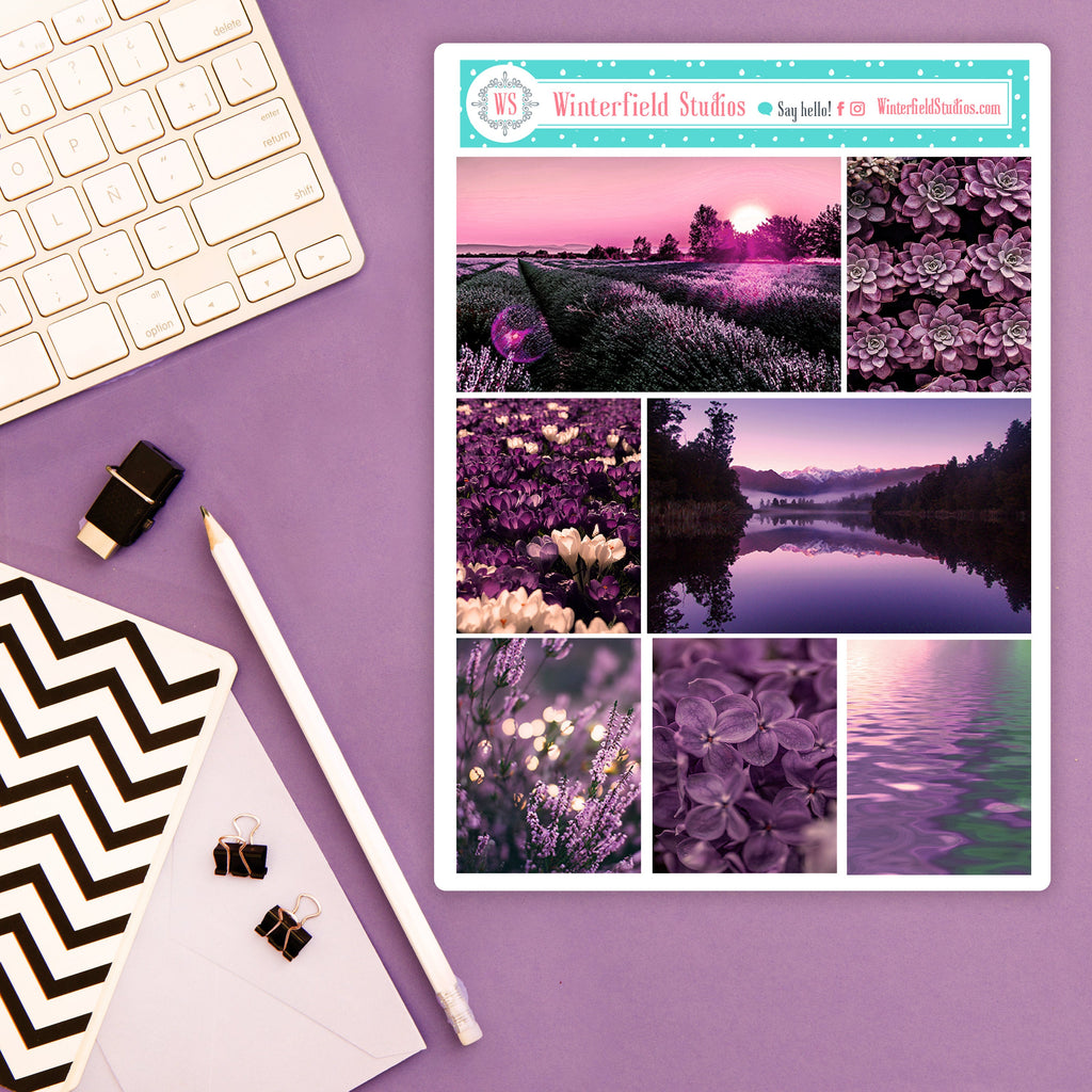Purple City Reprise Planner Stickers - Purple & Lavender Photo Box Stickers - Fits Erin Condren, Happy Planner