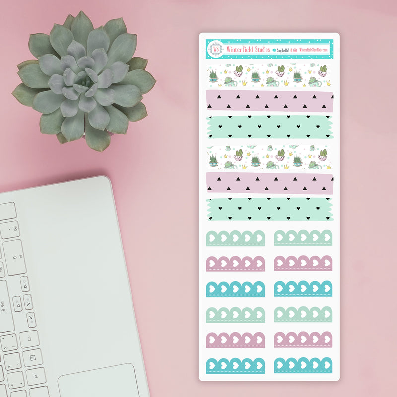 Simply Succulents Weekly Planner Sticker Kit - Cactus Stickers - Fits Erin Condren Life Planner & Classic Happy Planner