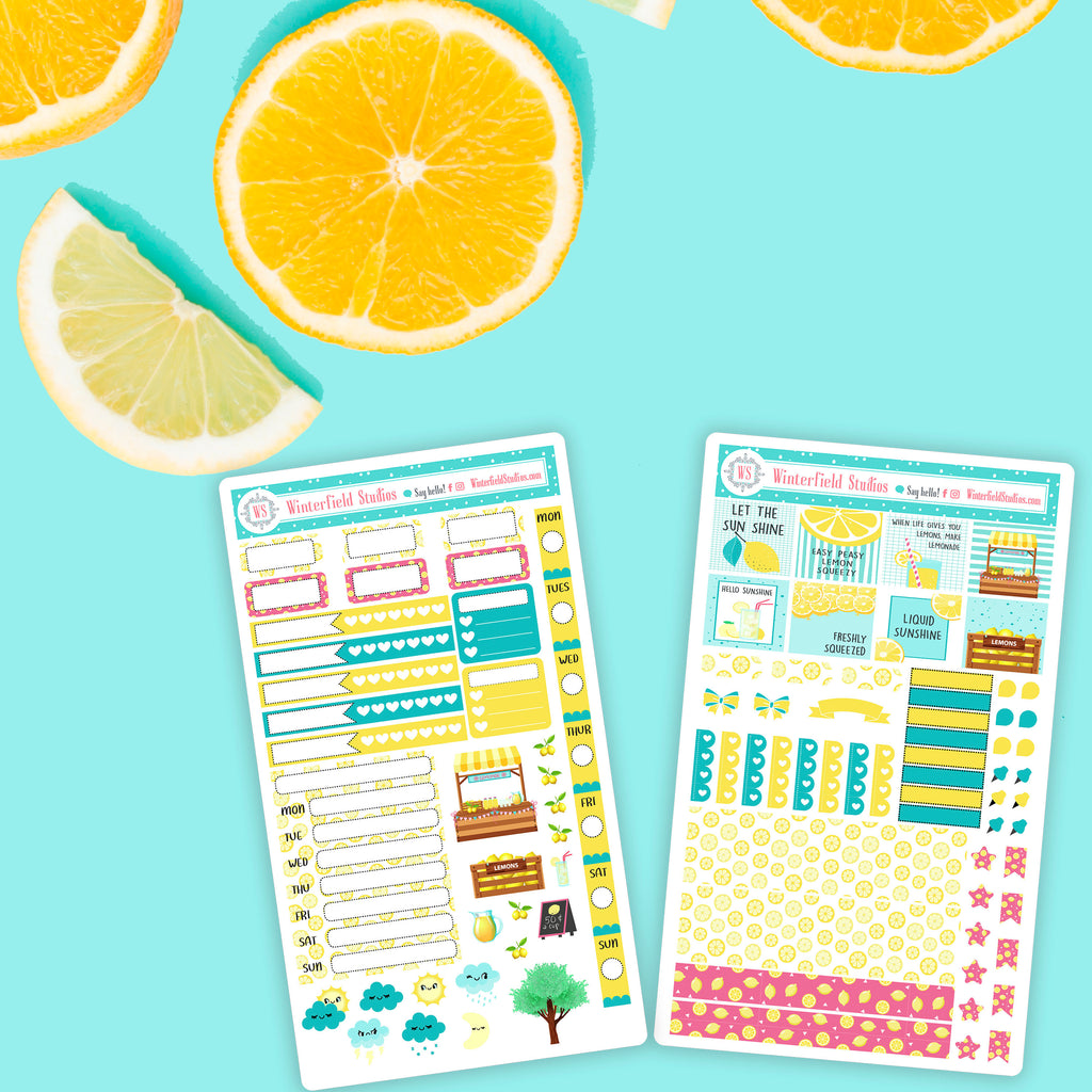 Lemonade Stand Hobonochi Weeks - Planner Sticker Kit - Fits Hobonichi Weeks Planners