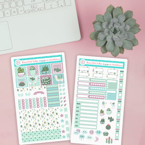 Simply Succulents Weekly Planner Sticker Kit - Cactus Stickers - Fits Hobonichi Weeks Planners