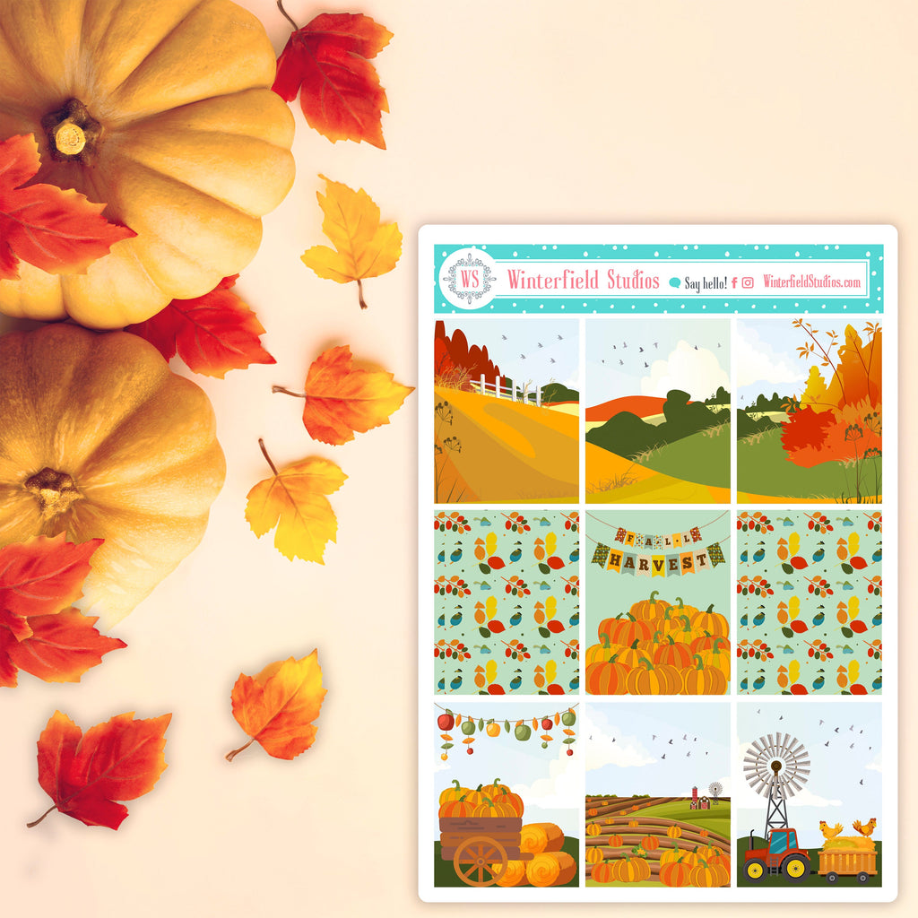 Fall Pumpkin Patch Planner Sticker Kit - Fits Vertical Planners