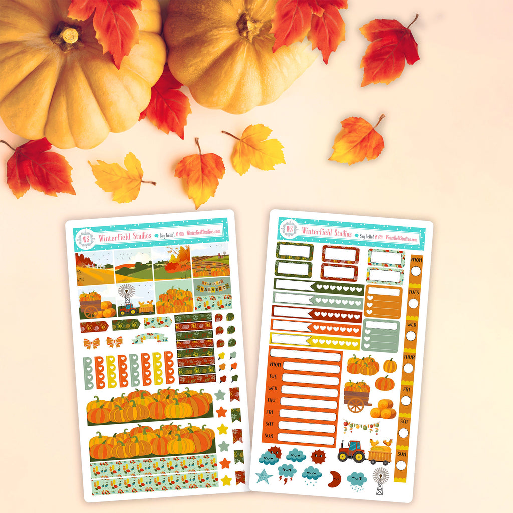 Fall Pumpkin Patch Hobonichi Planner Sticker Kit - Planner Stickers