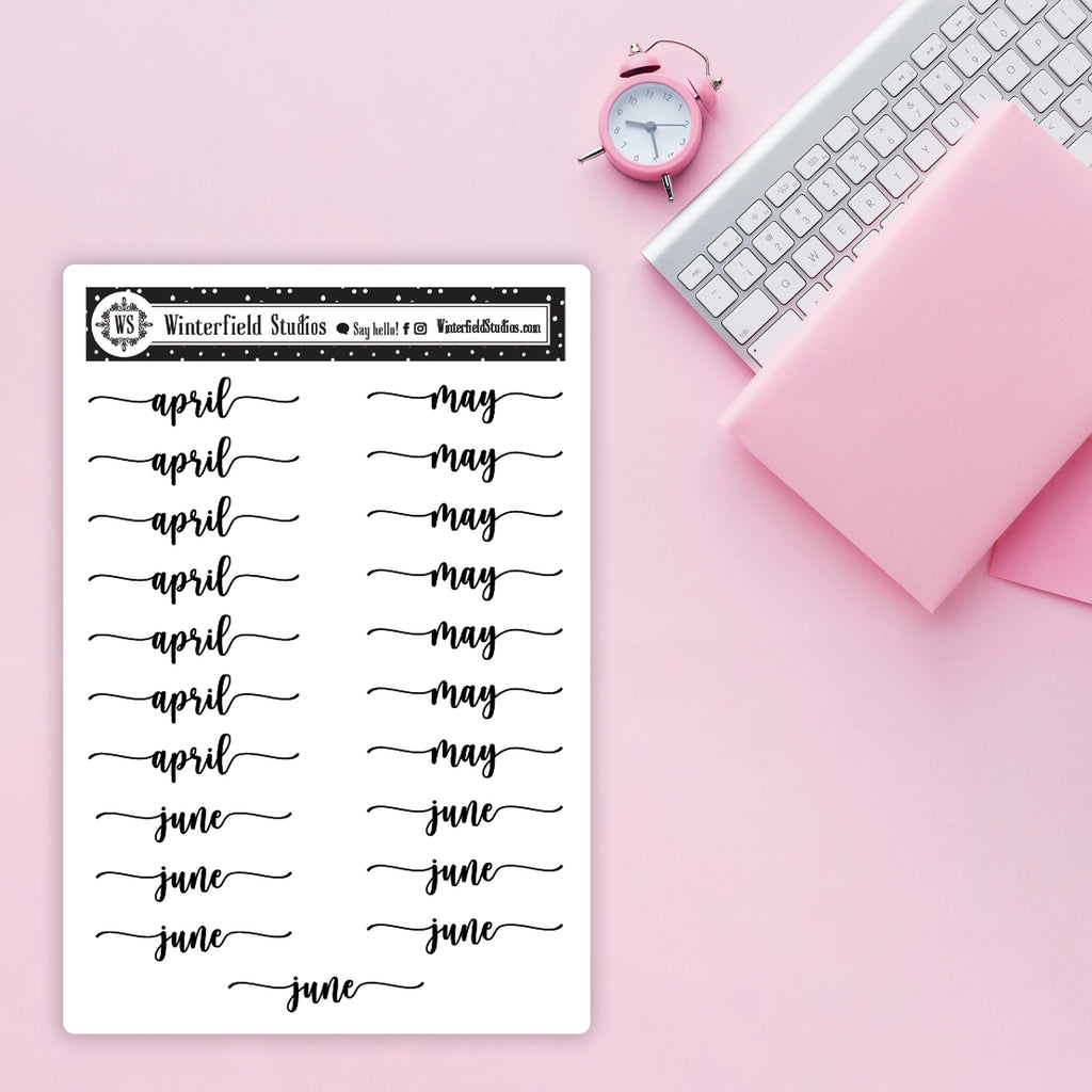 Months of the Year Script Stickers - Season Script Stickers