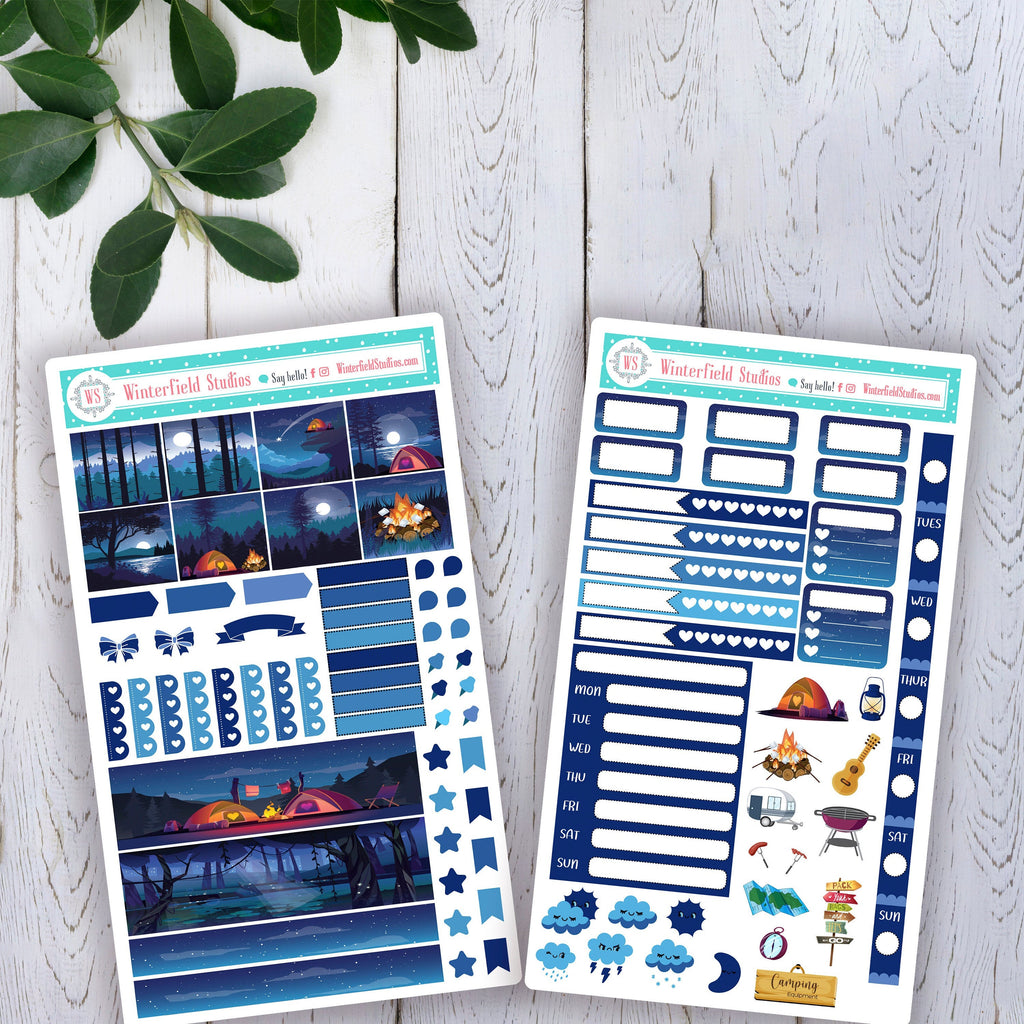 Camping Under The Stars Hobonichi Weeks Planner Sticker Kit - Planner Stickers