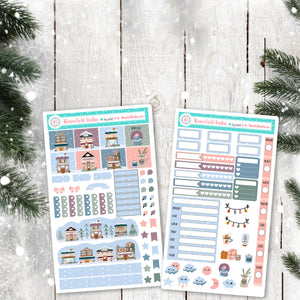 Small Town Christmas Planner Scene Sticker Kit - Winter Stickers - Hobonichi Weeks Stickers