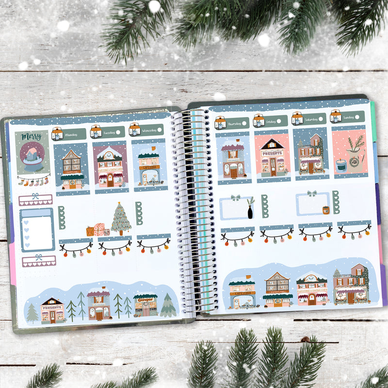 Small Town Christmas Planner Scene Sticker Kit - Winter Stickers - Scrapbook Stickers - Fits Vertical Planners