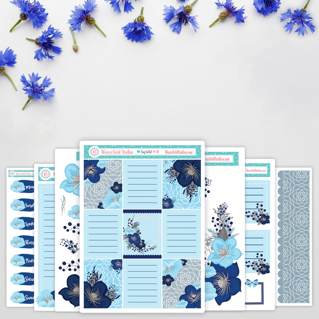 Blue Winter Blossoms - Winter Stickers - Scrapbook Stickers - Fits Vertical Planners