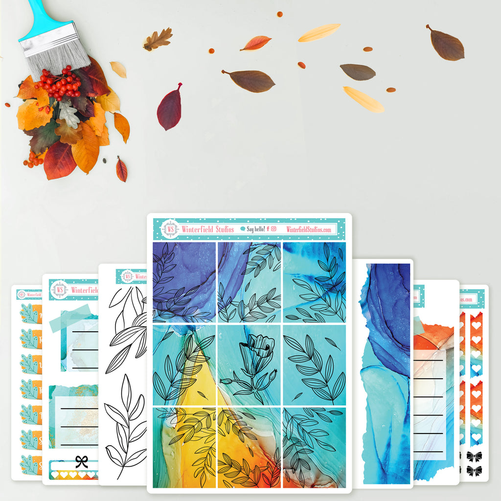 Golden Autumn Embers Planner Scene Sticker Kit - Fits Vertical Planners