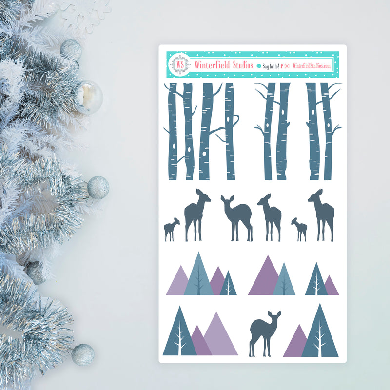 All Is Calm Winter Planner Scene Sticker Kit - Christmas Stickers -  Fits Vertical Planners