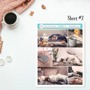 Cozy Days Fall & Winter Stickers - Full Box Photo Stickers Fit Vertical Planners