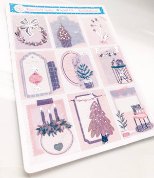 Vintage Victorian Holiday - Winter Stickers -  Fits Vertical Planners