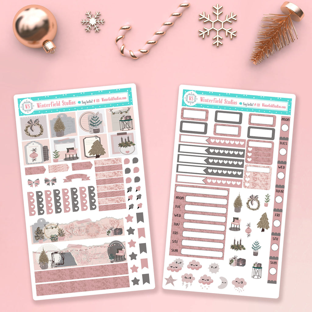 Vintage Victorian Holiday Hobonichi Weeks Planner Sticker Kit - Planner Stickers