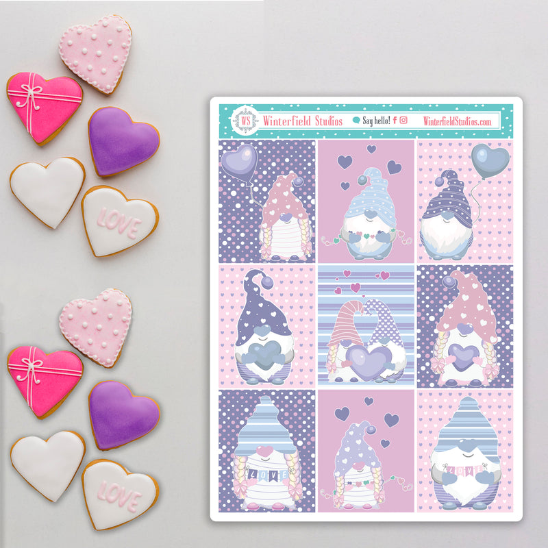 I Gnome You'll Be My Valentine - Love Stickers - Fits Most Planners