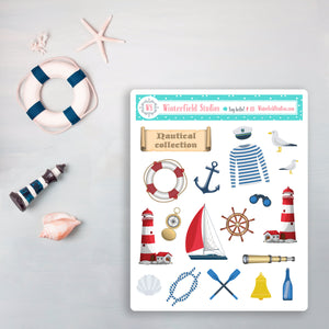 Lighthouse By the Sea Weekly Sticker Kit - Fits Vertical Planners