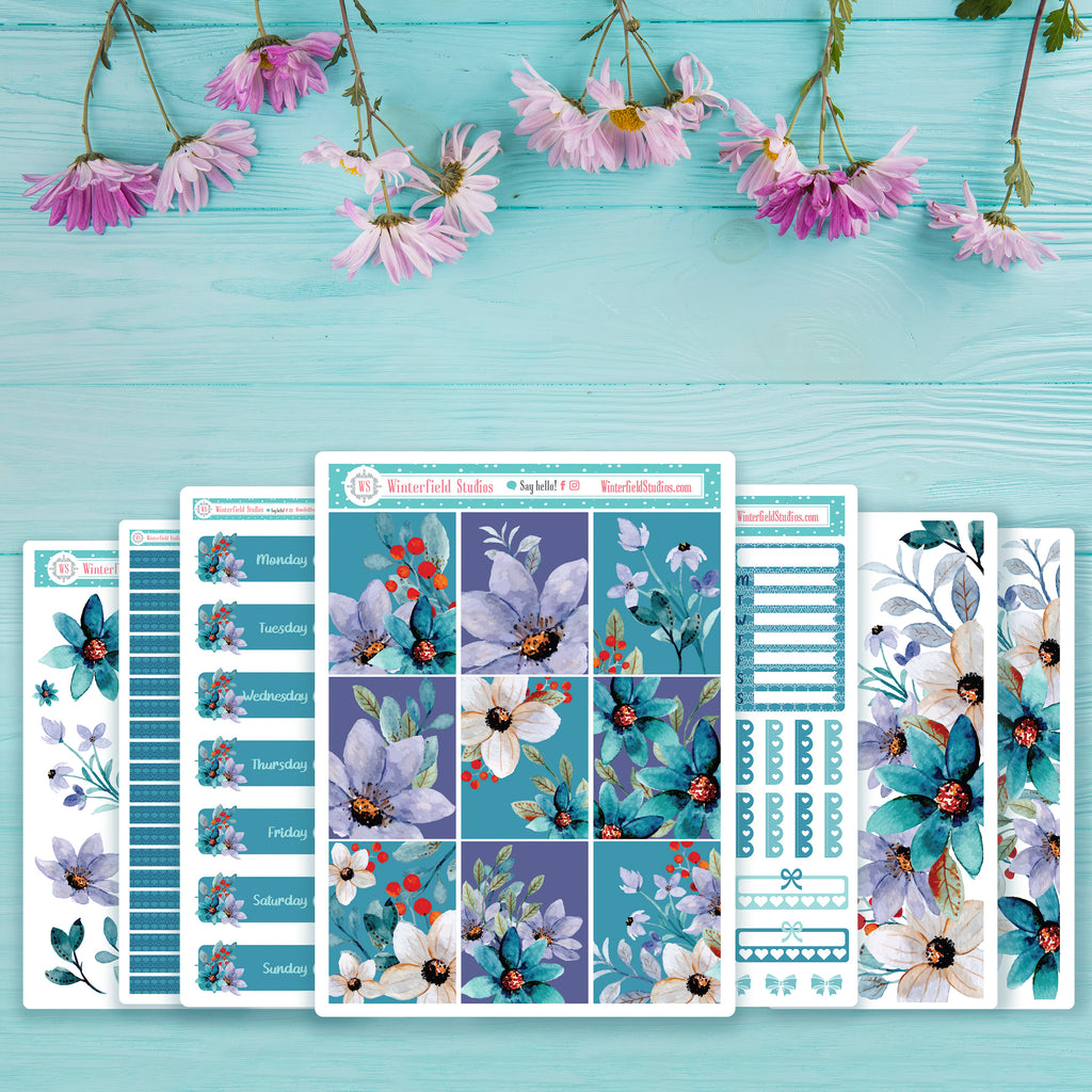 Spring Floral Harmony Weekly Sticker Kit - Fits Vertical Planners