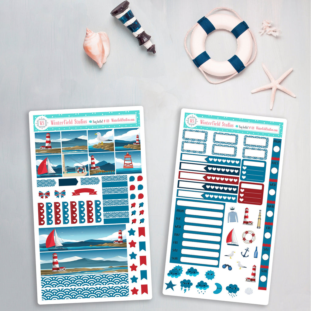 Lighthouse By The Sea Hobonichi Weeks Planner Sticker Kit