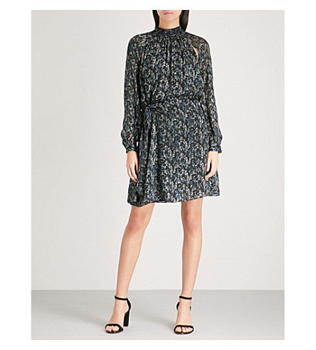 Aubrie snake-print silk-blend dress