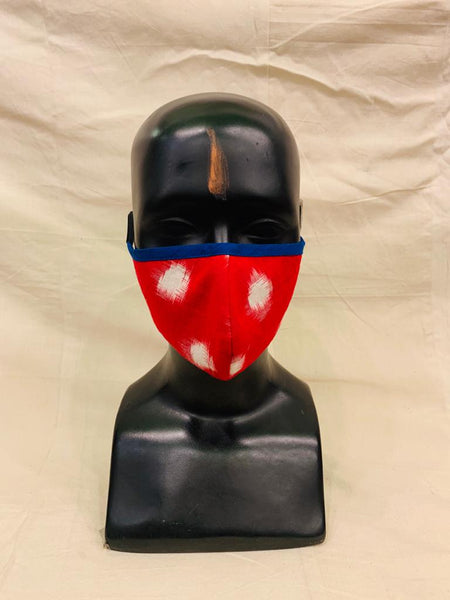 Red Polka Dot Ikkat Mask