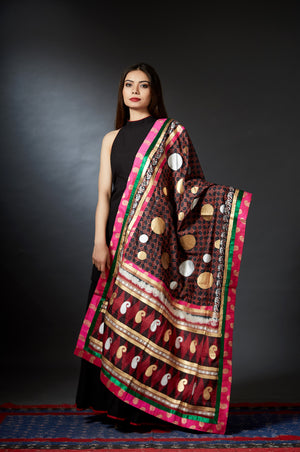 Midas - Gold and Silver Motif Hand Block Printed Dupatta